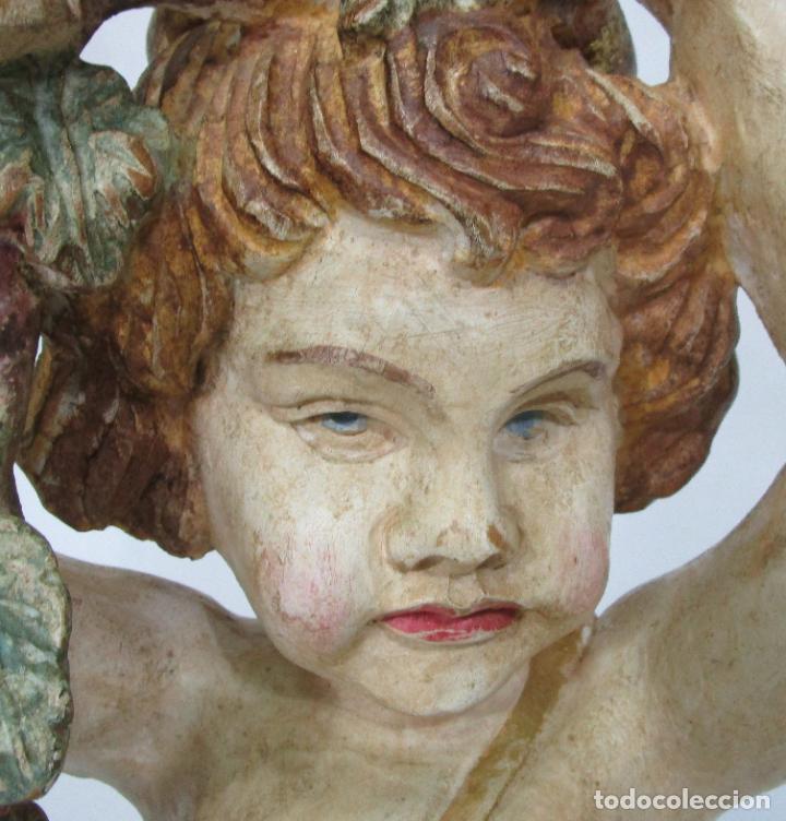 Antigüedades: Bonita Lámpara de Pie - Ángel Torchero - Talla de Madera Policromada - Altura 175 cm -Mediados S. XX - Foto 7 - 213388491