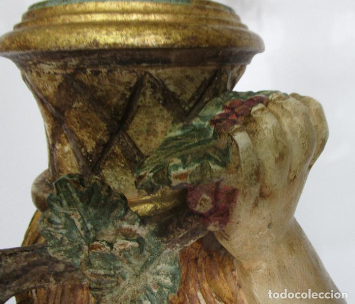 Antigüedades: Bonita Lámpara de Pie - Ángel Torchero - Talla de Madera Policromada - Altura 175 cm -Mediados S. XX - Foto 8 - 213388491