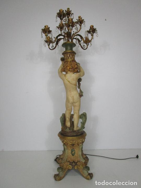 Antigüedades: Bonita Lámpara de Pie - Ángel Torchero - Talla de Madera Policromada - Altura 175 cm -Mediados S. XX - Foto 10 - 213388491