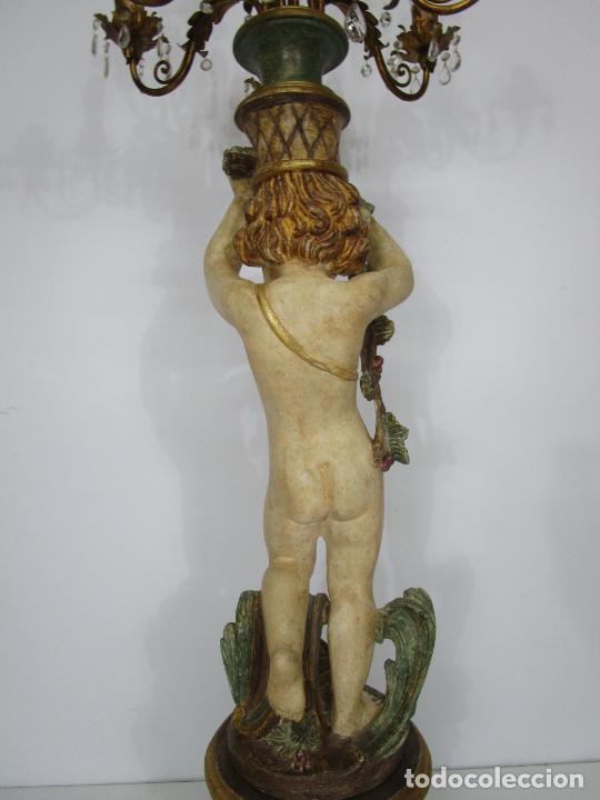 Antigüedades: Bonita Lámpara de Pie - Ángel Torchero - Talla de Madera Policromada - Altura 175 cm -Mediados S. XX - Foto 11 - 213388491