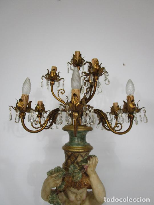 Antigüedades: Bonita Lámpara de Pie - Ángel Torchero - Talla de Madera Policromada - Altura 175 cm -Mediados S. XX - Foto 12 - 213388491