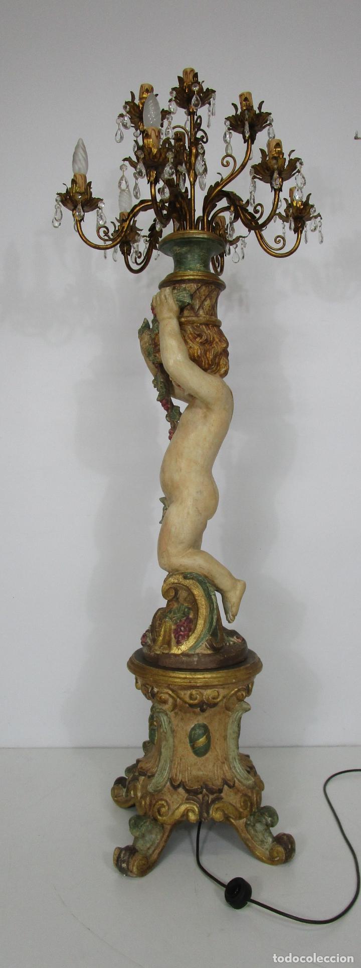 Antigüedades: Bonita Lámpara de Pie - Ángel Torchero - Talla de Madera Policromada - Altura 175 cm -Mediados S. XX - Foto 15 - 213388491