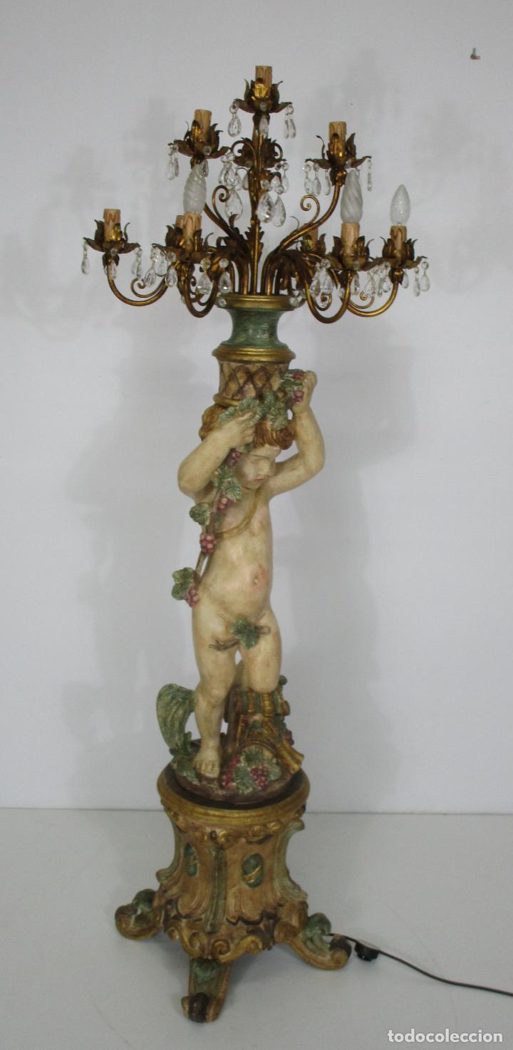 Antigüedades: Bonita Lámpara de Pie - Ángel Torchero - Talla de Madera Policromada - Altura 175 cm -Mediados S. XX - Foto 17 - 213388491