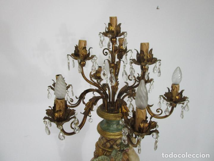Antigüedades: Bonita Lámpara de Pie - Ángel Torchero - Talla de Madera Policromada - Altura 175 cm -Mediados S. XX - Foto 18 - 213388491
