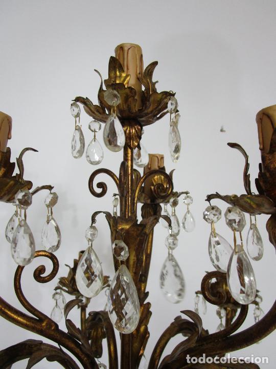 Antigüedades: Bonita Lámpara de Pie - Ángel Torchero - Talla de Madera Policromada - Altura 175 cm -Mediados S. XX - Foto 19 - 213388491