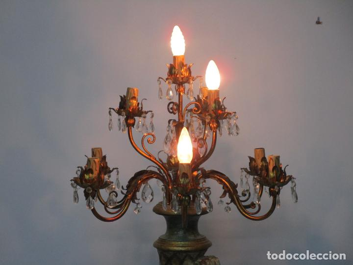 Antigüedades: Bonita Lámpara de Pie - Ángel Torchero - Talla de Madera Policromada - Altura 175 cm -Mediados S. XX - Foto 21 - 213388491