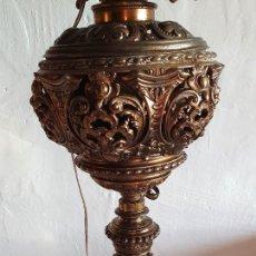 Antigüedades: ANTIGUA LAMPARA QUINQUE DE PIE EN BRONCE. Lote 213420706