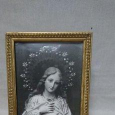 Antigüedades: ANTIGUO CUADRO MARCO RELIGIOSO VIRGEN MARIA. Lote 213421506