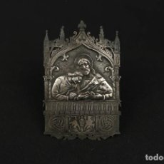Antigüedades: ANTIGUA PLACA RELIGIOSA DE COBRE PLATEADO SIGLO XIX. Lote 213430222