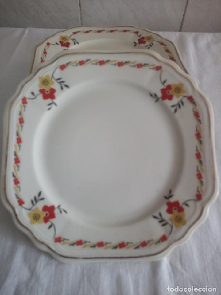 Antigüedades: Lote de 6 platos cuadrados de postre de porcelana elfeiben porcelaine - Foto 2 - 213434776