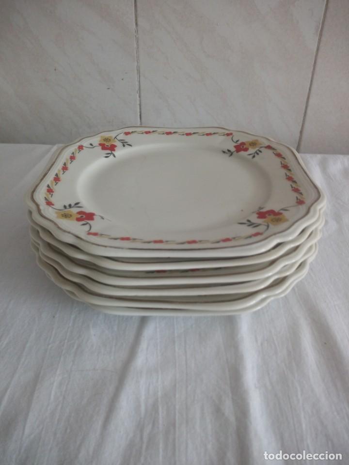 Antigüedades: Lote de 6 platos cuadrados de postre de porcelana elfeiben porcelaine - Foto 3 - 213434776