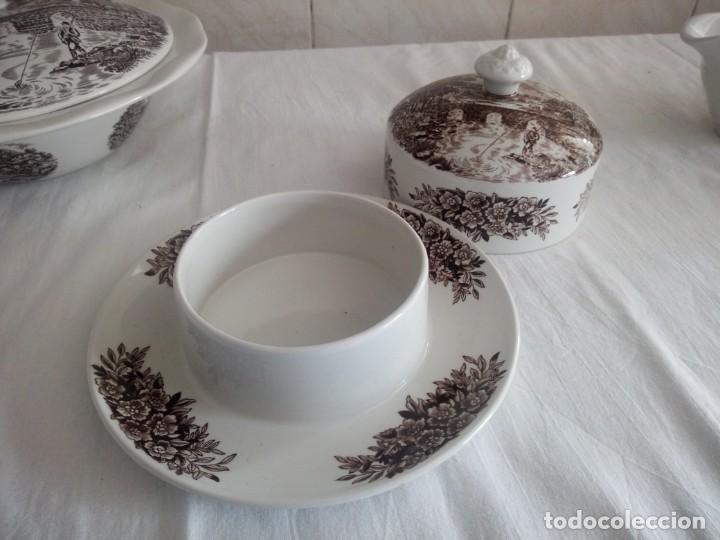 Antigüedades: Lote de 3 piezas de porcelana bridge scene crown ducal,england,legumbrera,mantequillera y salsera. - Foto 8 - 213438255