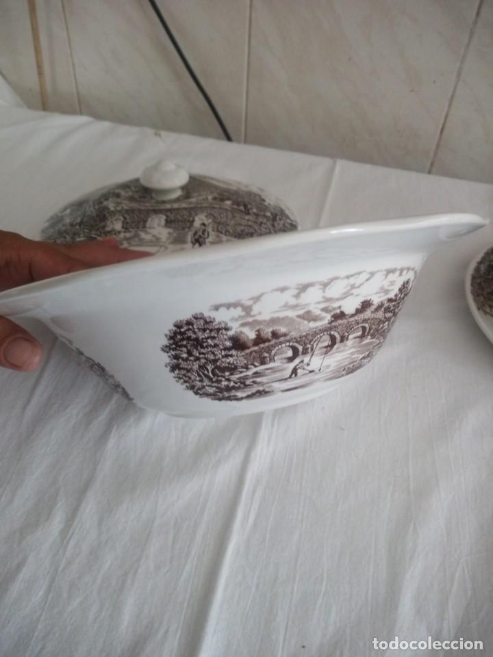 Antigüedades: Lote de 3 piezas de porcelana bridge scene crown ducal,england,legumbrera,mantequillera y salsera. - Foto 10 - 213438255