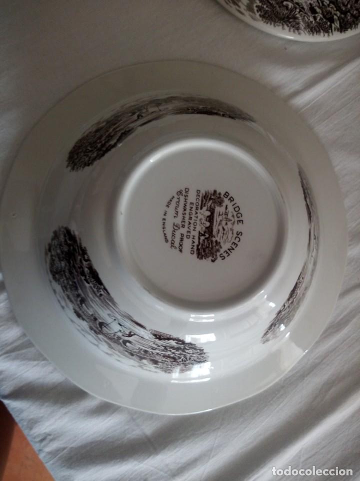 Antigüedades: Lote de 3 piezas de porcelana bridge scene crown ducal,england,legumbrera,mantequillera y salsera. - Foto 11 - 213438255