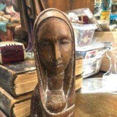 Antigüedades: BUSTO IMAGEN VIRGEN DE MADERA - MEDIDA 21 CM - RELIGIOSO. Lote 213496636