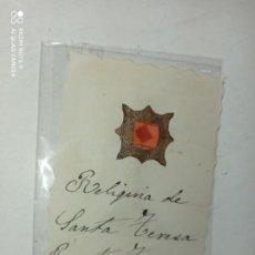 Antiquités: ANTIGUO Y ORIGINAL RELIQUIA DE SANTA TERESA. Lote 213535705