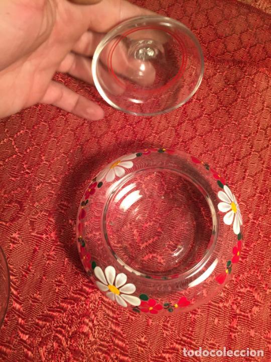 Antigüedades: Antiguo juego de tocador de cristal transparente pintado con flores años 50-60 - Foto 5 - 213585973