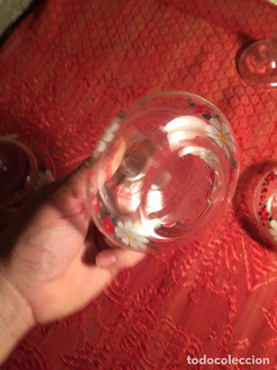 Antigüedades: Antiguo juego de tocador de cristal transparente pintado con flores años 50-60 - Foto 10 - 213585973