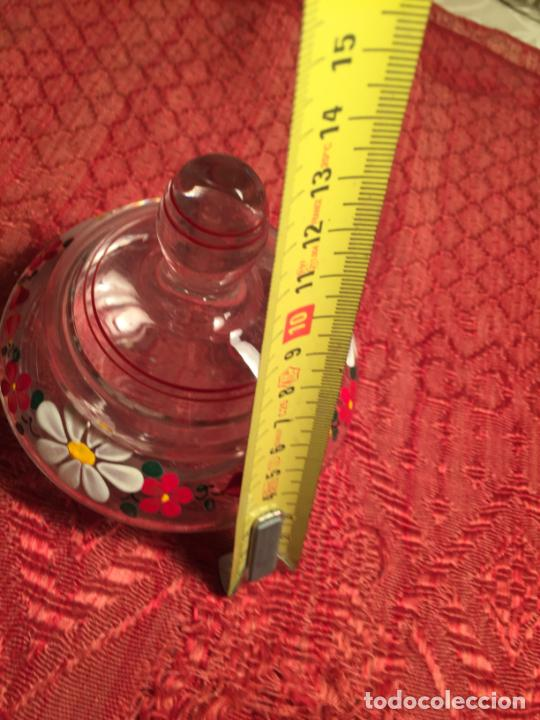 Antigüedades: Antiguo juego de tocador de cristal transparente pintado con flores años 50-60 - Foto 12 - 213585973