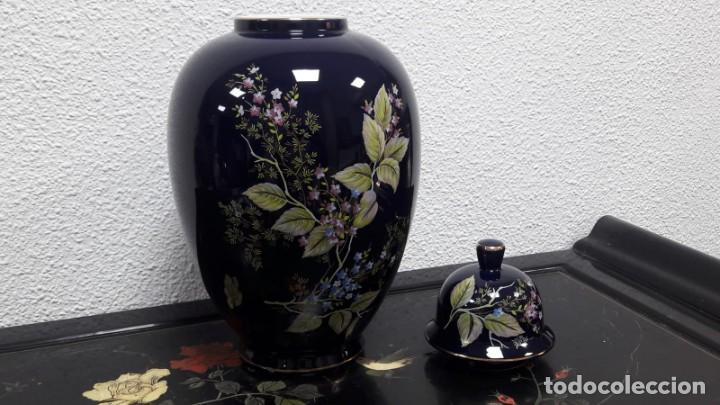Antigüedades: Gran búcaro tibor en porcelana decorados flores medida de alto 41 cm buen estado - Foto 2 - 213598170