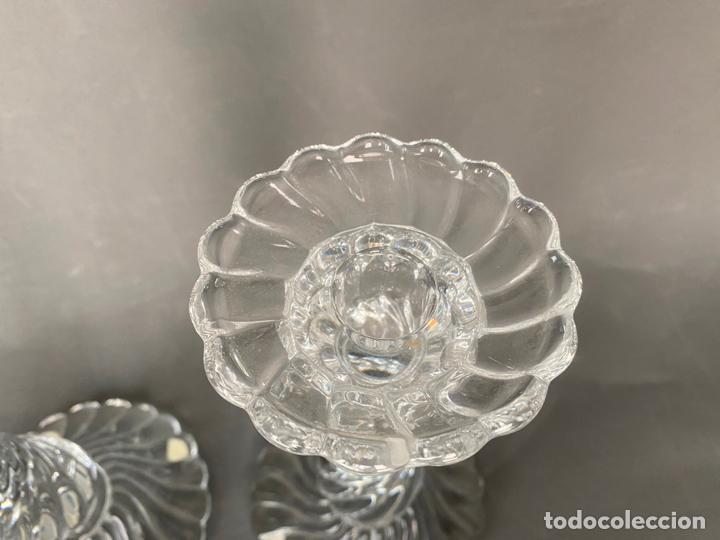 Antigüedades: palmatorias baccarat para tiffany , cristal firmado , vintage , modelo bambous , candlestick glass - Foto 6 - 213606051
