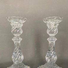 Antigüedades: PALMATORIAS BACCARAT PARA TIFFANY , CRISTAL FIRMADO , VINTAGE , MODELO BAMBOUS , CANDLESTICK GLASS. Lote 213606051