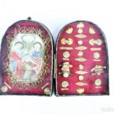 Antigüedades: RELICARIO DOBLE. EX OSSIBUS, S XVIII. 15 RELIQUIAS.. Lote 213608958