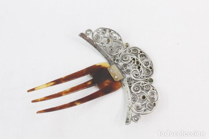 Antigüedades: Preciosa peineta s XIX en plata de filigrana y carey auténtico. - Foto 3 - 213609143