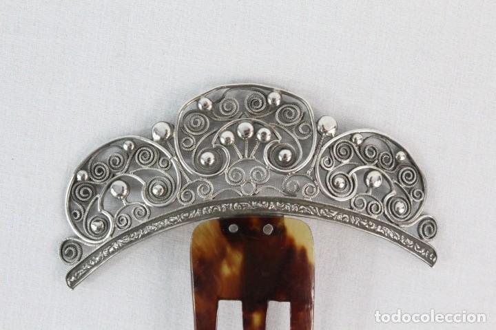 Antigüedades: Preciosa peineta s XIX en plata de filigrana y carey auténtico. - Foto 4 - 213609143
