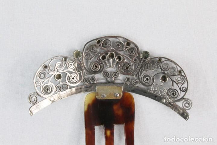 Antigüedades: Preciosa peineta s XIX en plata de filigrana y carey auténtico. - Foto 5 - 213609143