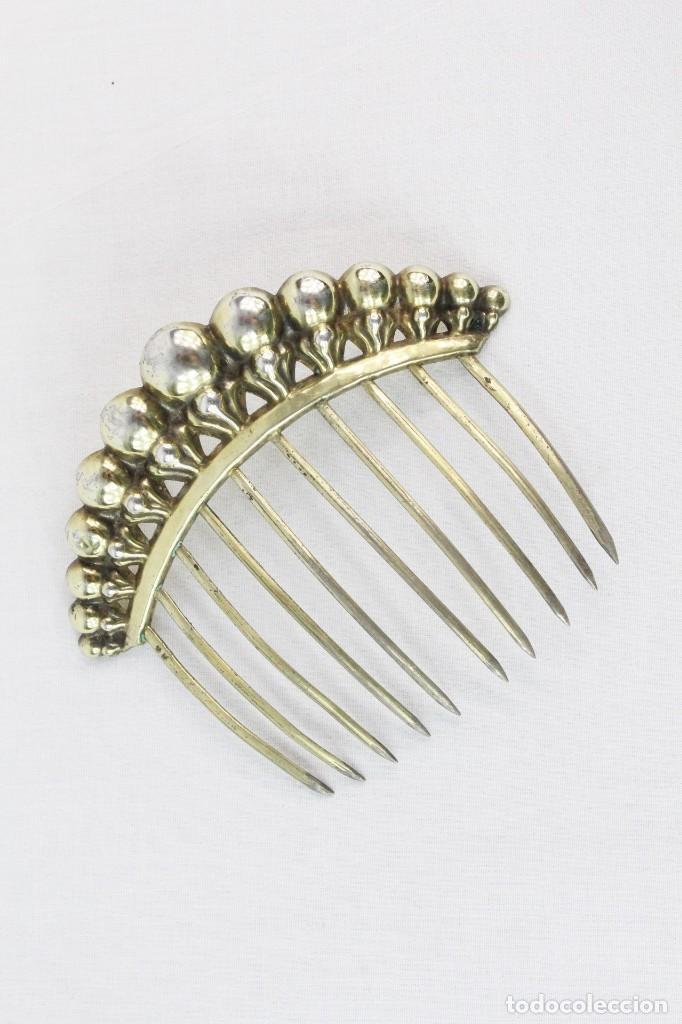 Antigüedades: Preciosa peineta s XIX de plata sólida y oro vermeil tiara hacia 1815 época imperio - Foto 2 - 213609406