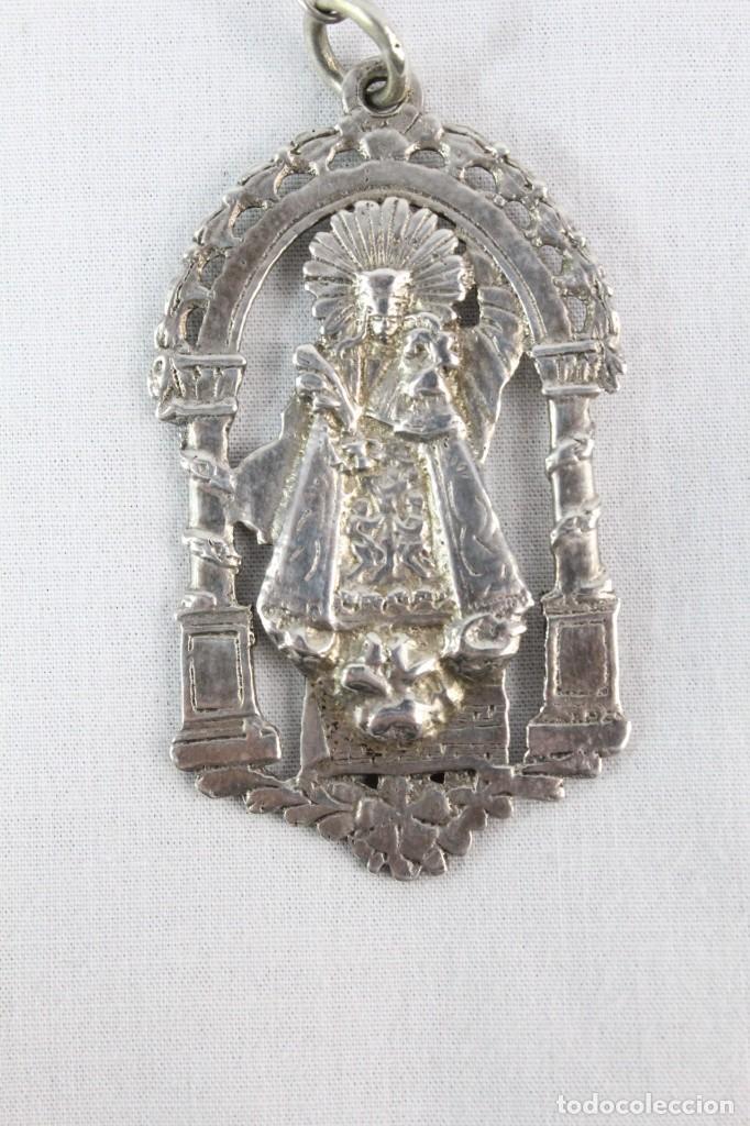 Antigüedades: Rosario de coral y plata s XVIII con gran medalla Virgen Desamparados San Vicente Valencia - Foto 6 - 213615412