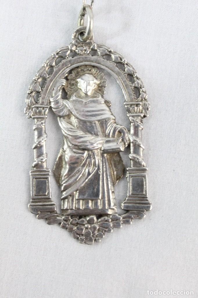 Antigüedades: Rosario de coral y plata s XVIII con gran medalla Virgen Desamparados San Vicente Valencia - Foto 7 - 213615412