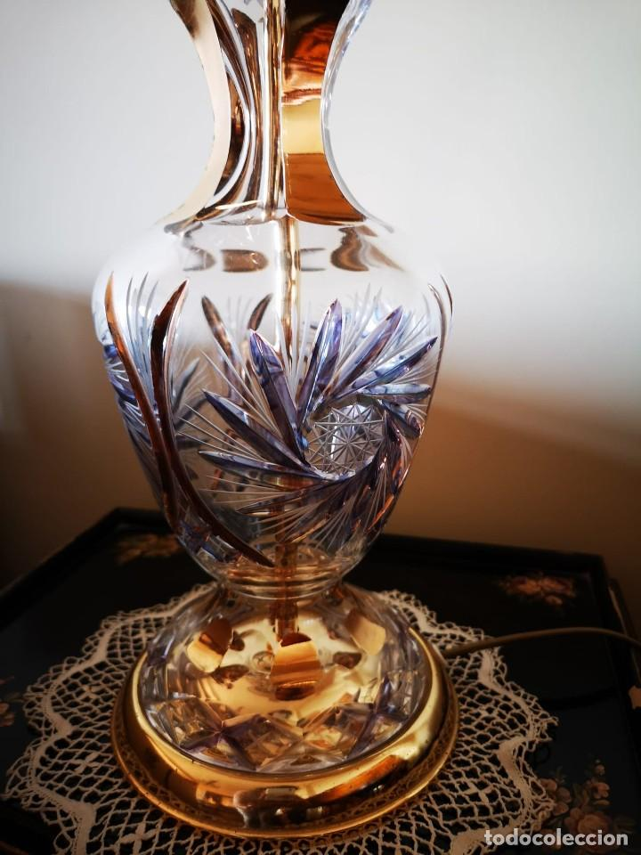 PAREJA LAMAPARAS DE MESA CRISTAL BOHEMIA (Antigüedades - Cristal y Vidrio - Bohemia)