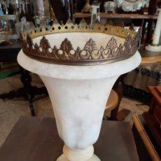 Antiquités: ANTIGUO Y PRECIOSO VASO MEDICIS EN ALABASTRO Y BRONCE , DE JARDIN SIGLO XIX. Lote 213654620