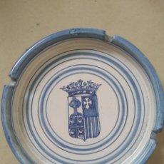Antigüedades: CENICERO ESCUDO DE ARAGÓN CERÁMICA DE MUEL. Lote 213713461