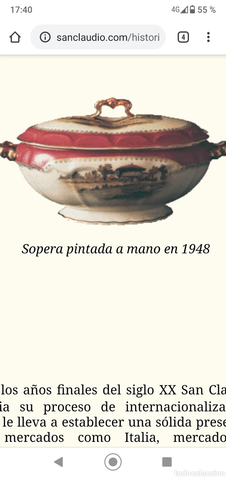 Antigüedades: SOPERA PINTADA A MANO SAN CLAUDIO OVIEDO 1948 - Foto 8 - 213717092