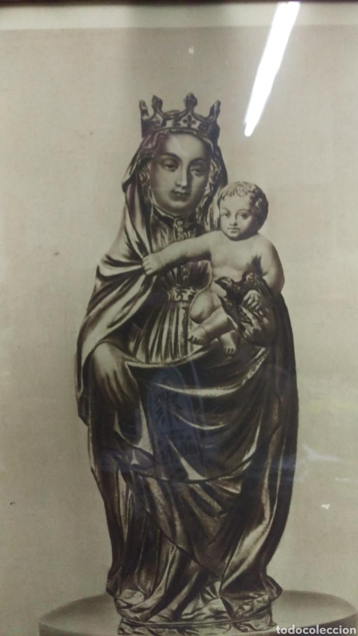 Antigüedades: Antiguo cuadro lamina imagen Virgen del Pilar - Foto 3 - 213722188