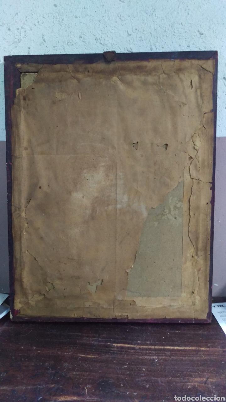 Antigüedades: Antiguo cuadro lamina imagen Virgen del Pilar - Foto 5 - 213722188