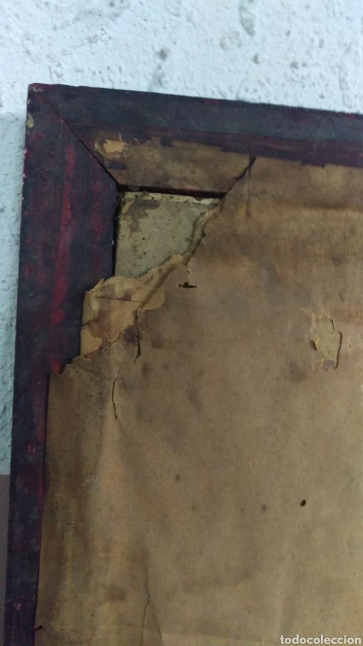 Antigüedades: Antiguo cuadro lamina imagen Virgen del Pilar - Foto 7 - 213722188