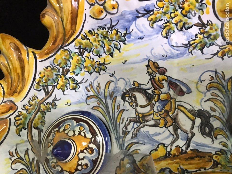 Antigüedades: Escribanía Tintero pintado a mano Talavera - Foto 2 - 213725256