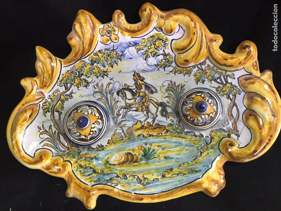 ESCRIBANÍA TINTERO PINTADO A MANO TALAVERA (Antigüedades - Porcelanas y Cerámicas - Talavera)