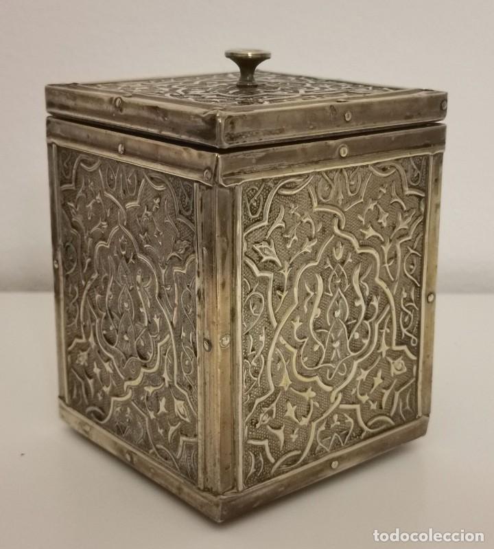 CAJA PARA TE. LATÓN Y MADERA. REINO UNIDO. PRINC. S. XX (Antigüedades - Hogar y Decoración - Cajas Antiguas)