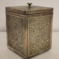 Antigüedades: CAJA PARA TE. LATÓN Y MADERA. REINO UNIDO. PRINC. S. XX. Lote 213742133