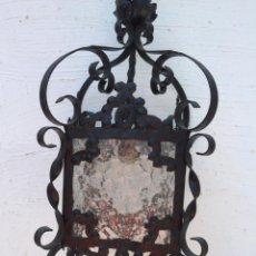 Antigüedades: FAROL ANTIGUO DE HIERRO Y CRISTAL. Lote 213746358