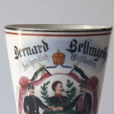Antigüedades: VASO BELGA CONMEMORATIVO. AÑO 1903. BERNARD BELLMGOBR SEINERZLICH WILLKOMEN.. Lote 213755962