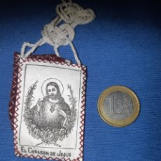 Antigüedades: ANTIGUO ESCAPULARIO DEL SAGRADO CORAZÓN DE JESÚS. Lote 213761586