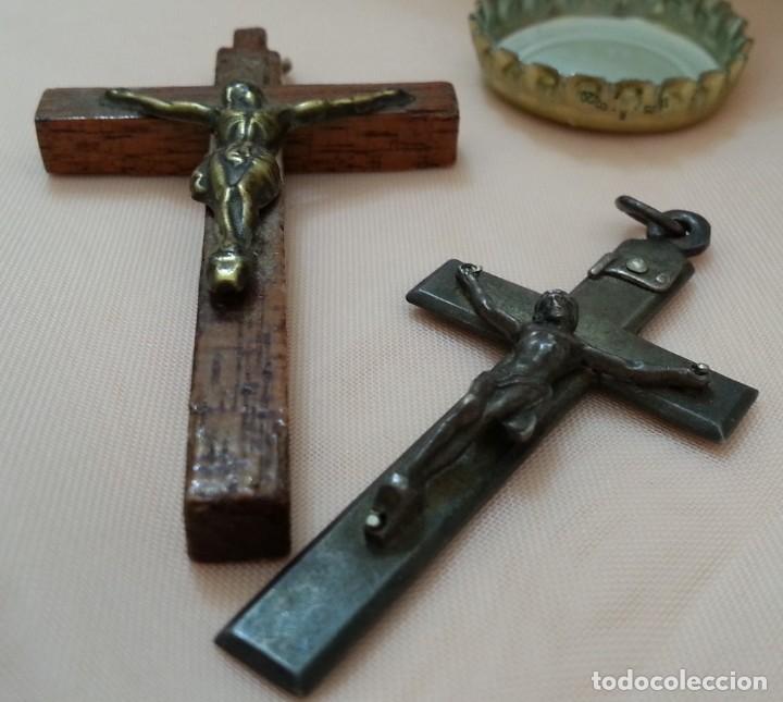 Antigüedades: Crucifijos. Colgantes. Pareja. Preciosos. - Foto 2 - 213769470