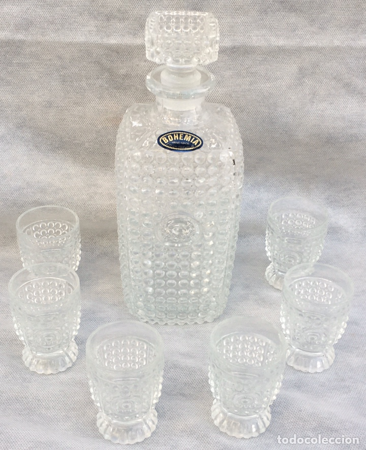 Antigüedades: Juego licorera Cristal de Bohemia tallado - Foto 2 - 213796232