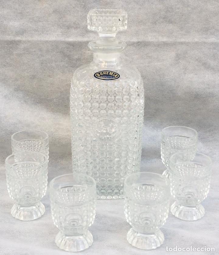 Antigüedades: Juego licorera Cristal de Bohemia tallado - Foto 4 - 213796232